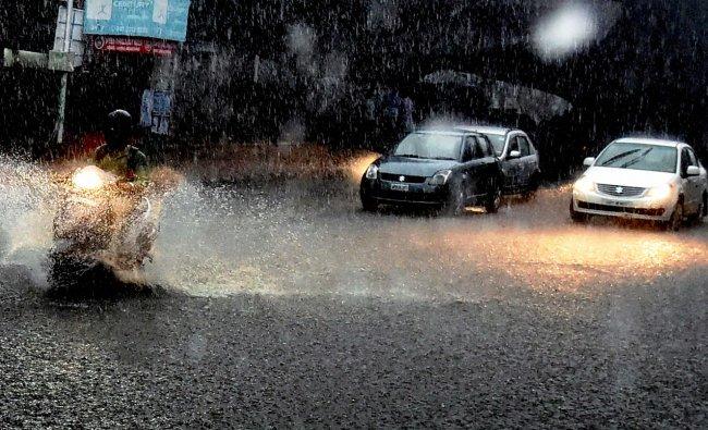 Heavy rains lashed Hyderabad on Friday evening.