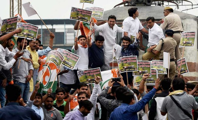 Youth Congress workers stopped trains during a Rail-roko protest against the government...