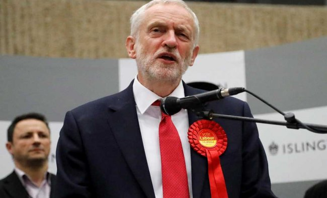 Britain\'s Labour party leader Jeremy Corbyn speaks after he retained his seat in Islington...