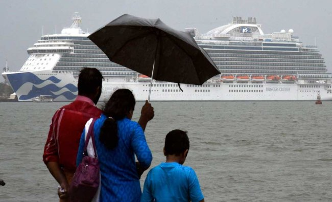 The Majestic Princess one of the largest luxury ships berthed at Kochi port on Saturday.
