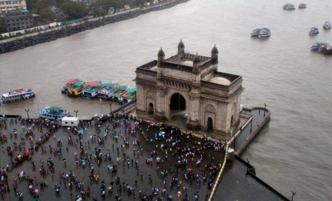 Ariel view of Gateway of India as monsoon start South Mumbai on Sunday