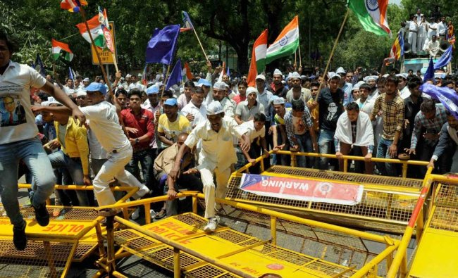 Members Dalit community during their protest at the Jantar Mantar to raise their voice...