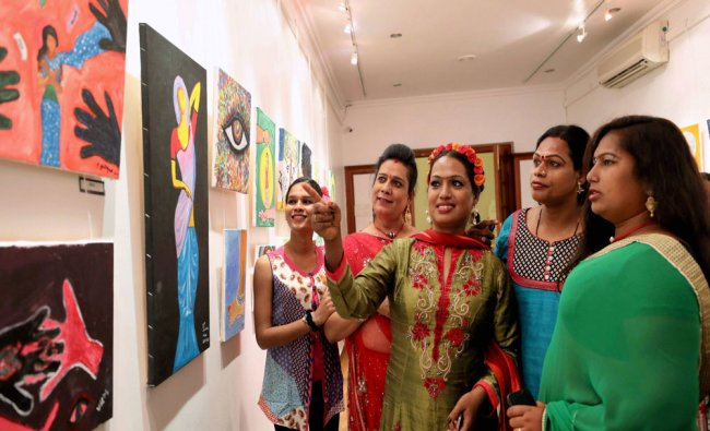 Transgender students visiting a painting exhibition