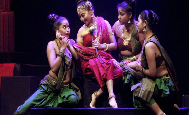 Actress Zerifa Wahid enacts in a drama at Rabindra Bhawan