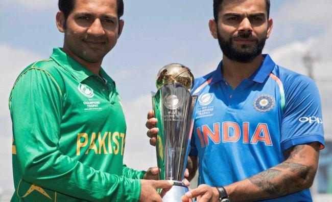 India\'s captain Virat Kohli, right, and Pakistan\'s captain Sarfraz Ahmed...