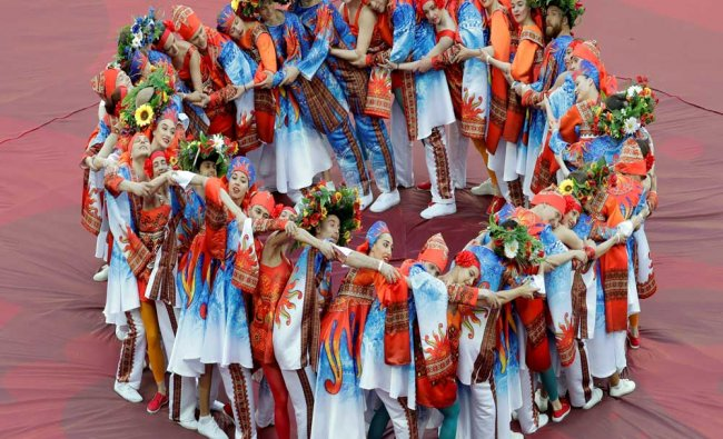 Artists perform during the opening ceremony of the Confederations Cup...