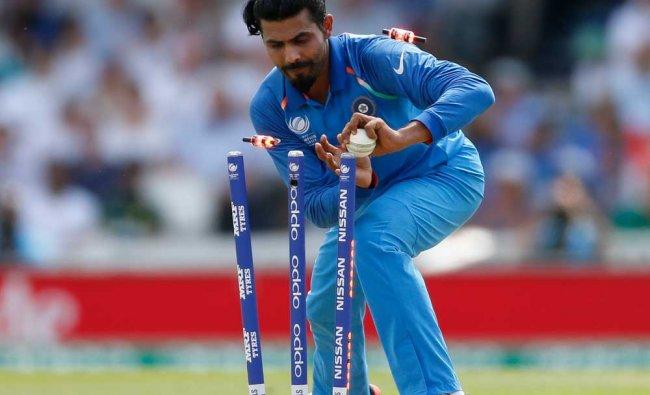 Indias Ravindra Jadeja in action during ICC Champions Trophy...