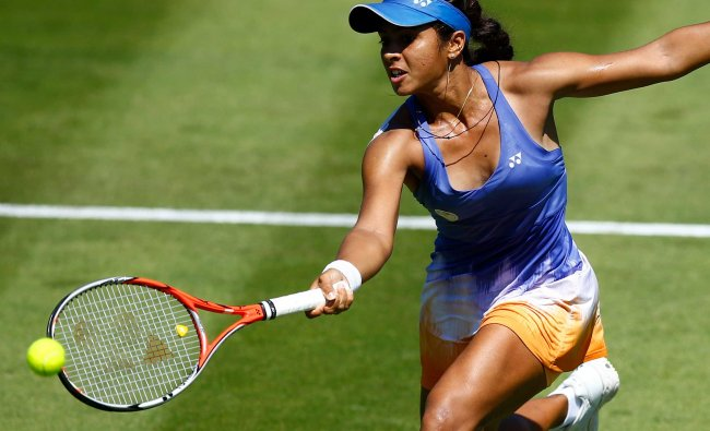 India\'s Ankita Raina in action during the second qualifying round against Czech Republic\'s Tereza...