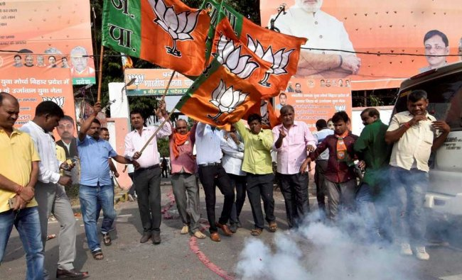 BJP workers celebrating in Patna after Bihar Governor Ramnath Kovind was announced as NDAs presiden