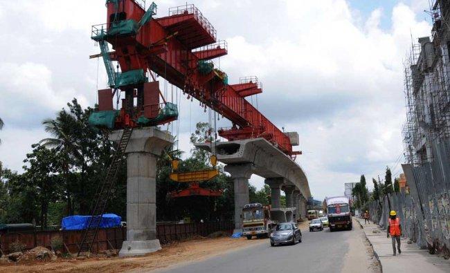 The Namma Metro Train work is going on at R V Engeeniring College,Mysuru Road in Bengaluru...