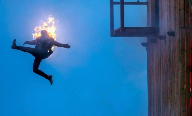 A burning stunt man can be seen during a press viewing of the Stoertebeker Festival on the...