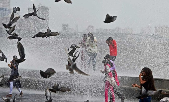 People revel in, and birds flock fly about the high tide at the Marine drive, in Mumbai on...