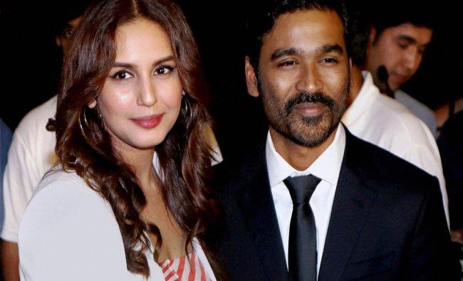 Bollywood actors Huma Qureshi and Dhanush during the trailer launch of film VIP 2 Lalkar...