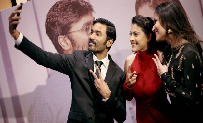 Bollywood actress Kajol with Soundarya and Dhanush during the trailer launch of film VIP 2...