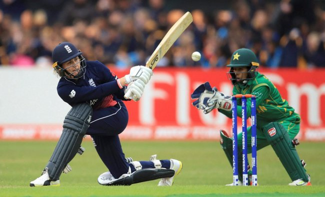 England\'s Natalie Sciver plays a shot against Pakistan during the ICC...