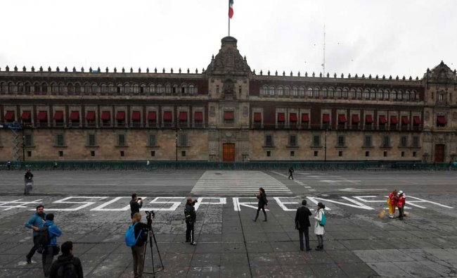 A group of journalist protest outside the National Palace for the slain journalist Salvador Adame...