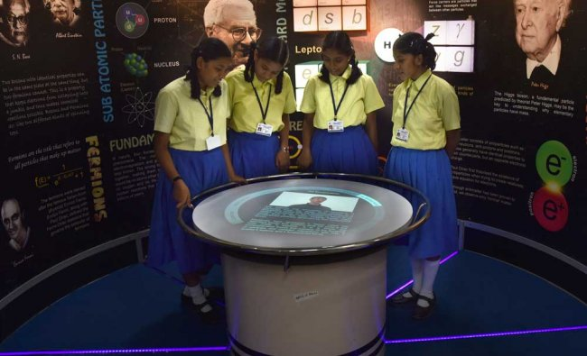 Students at the Space Exhibition at District Science Centre in Kalaburgi on Wednesday.