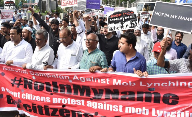 Citizes of Kalaburgi take out a protest march as part of the National campaign against...