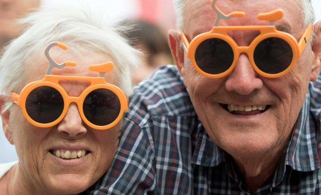 Dutch fans of the Tour de France can be seen in Duesseldorf, Germany, 29 June 2017....