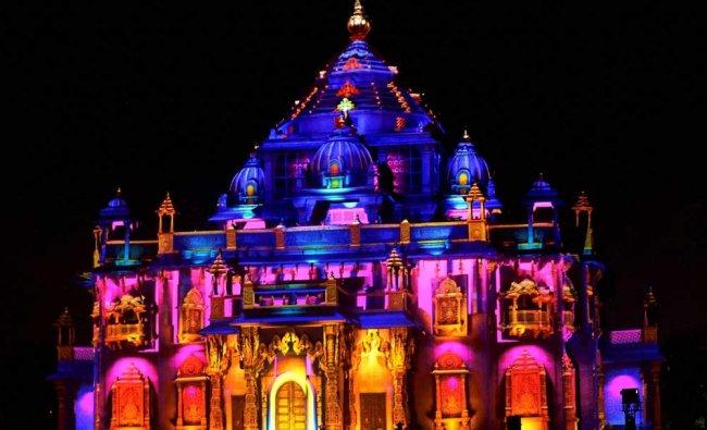 Laser show display at Akshardham Swaminarayan temple on the occasion of Akshardham Silver...