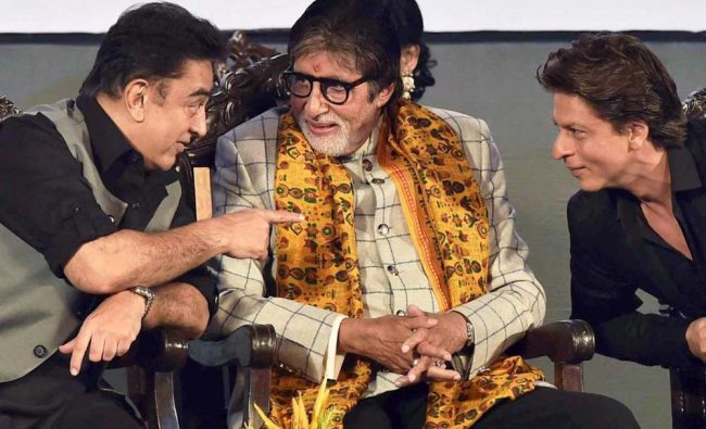 Film actors Amitabh Bachchan, Shah Rukh Khan and Kamal Hasan seen interacting with each other...