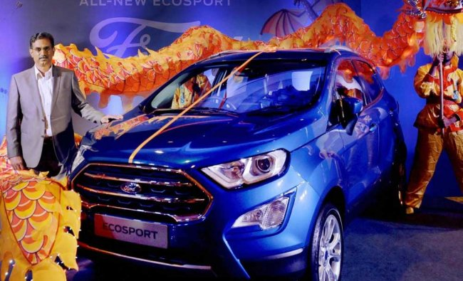 Ford Motor India executive director (Manufacturing) R Balasundaram at the launch of the company\'s...