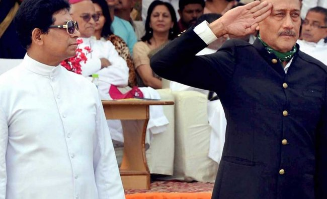 Bollywood actor Jackie Shroff during a function of a school in Agra on Saturday.