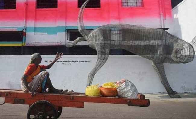 A dog made out of wire mesh has been erected as part of a series of art installations and murals ...