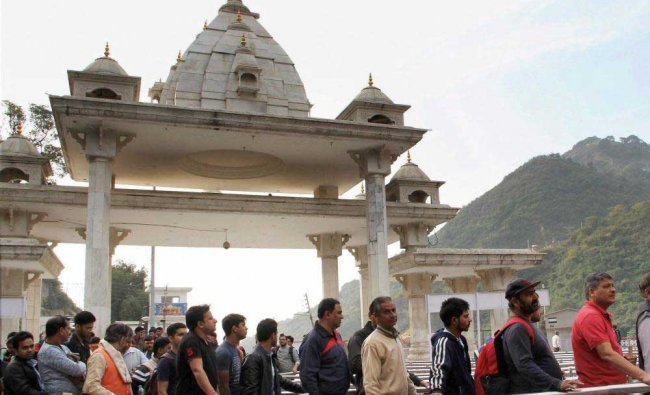 Pilgrims at Darshni Darbar on their way to Shri Mata Vaishno Devi temple in Katra, about 45 kms ...