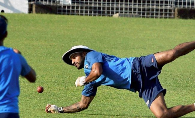 Shikhar Dhawan in action during a training session at Eden Garden in Kolkata on Monday ahead of the