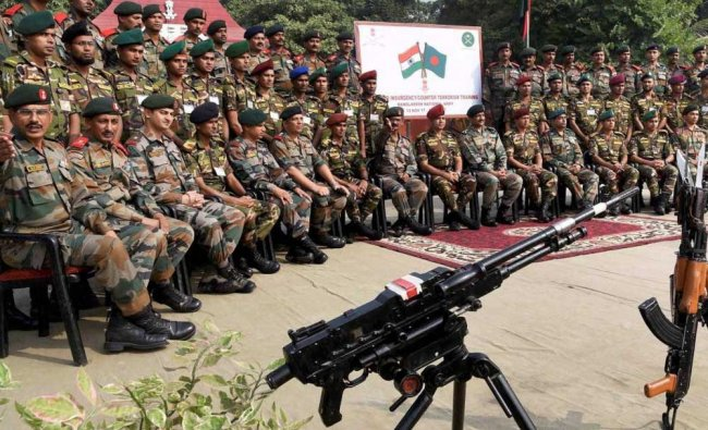 Indian and Bangladeshi soldiers at a joint training camp at Bihar Regimental Center (BRC) in...