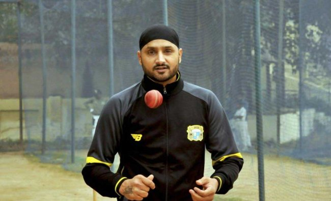 Punjab captain Harbhajan Singh practicing for the Ranji Trophy match in Amritsar on Tuesday.