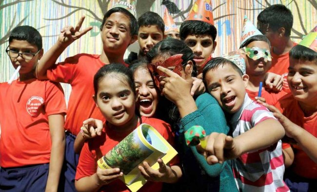 Differently abled kids during a Children\'s Day event in a school in Mumbai on Tuesday.