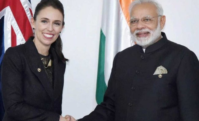 Prime Minister Narendra Modi shakes hands with his New Zealand counterpart Jacinda Ardern, in Manila