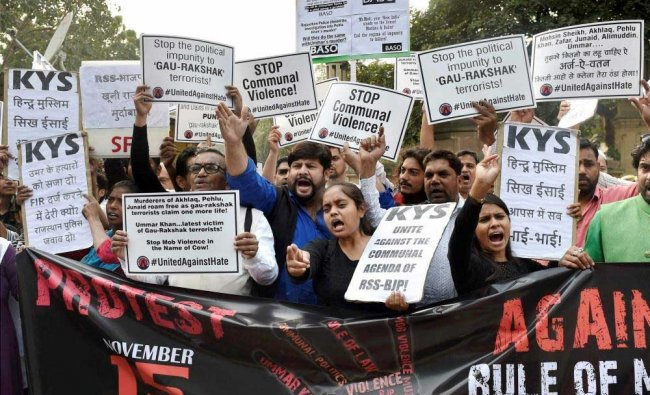 NGO activists and students display placards and shout slogans against cow-vigilantes...
