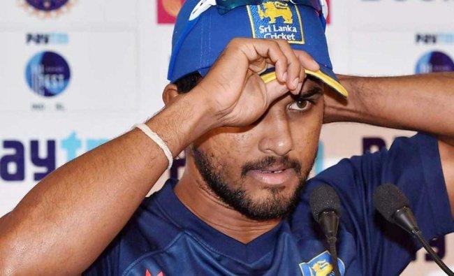 Sri Lanka cricket captain Dinesh Chandimal at a press conference at Eden Gardens in Kolkata on...