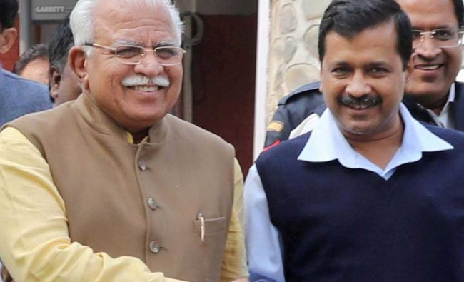 Haryana Chief Minister Manohar Lal with Delhi Chief Minister Arvind Kejriwal in Chandigarh on...