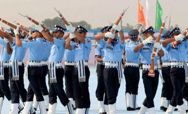 Indian Air Force personnel perform during presentation of standards to the 117 Helicopter Unit...