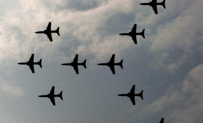 IAF planes display an air show during presentation of standards to the 117 Helicopter Unit and 223..