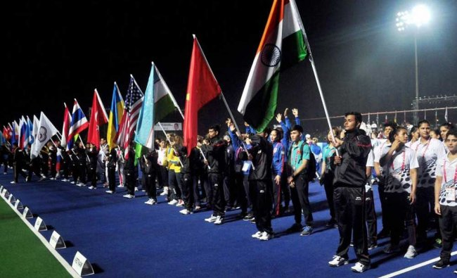 Contingents of various countries taking part in march past during the opening ceremony of AIBA....
