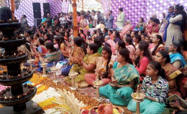 Devotees offer prayers to Lord Ayyappa at Bindapur...