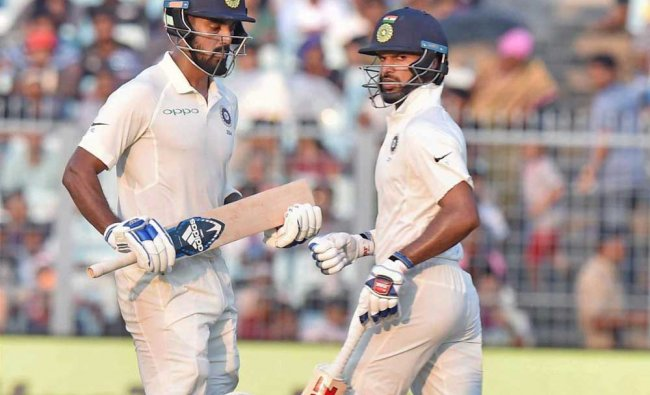 Shikhar Dhawan and L Rahul during Day 4 of the first cricket test math against Sri Lanka...