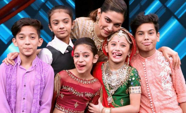 Deepika Padukone with child artists at the promotion of film Padmavati...