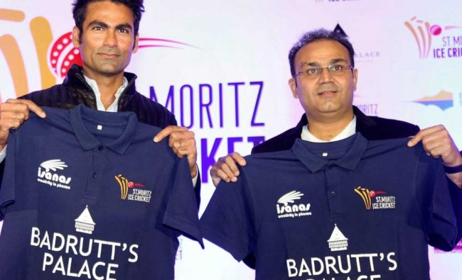 Sehwag and Kaif at the announcement of the inaugural edition of St. Moritz Ice Cricket...