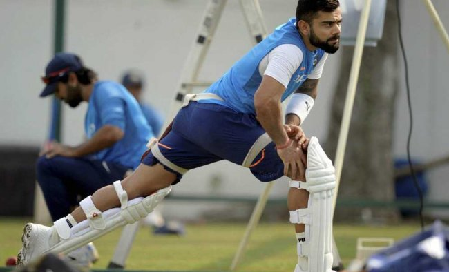 Virat Kohli during a practice session in Nagpur ahead of the 2nd test match...