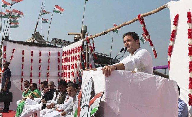 Congress vice-president Rahul Gandhi addressing a rally in Porbanbar, Gujarat...