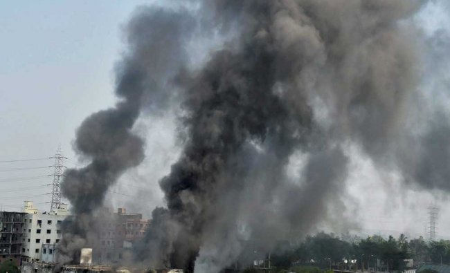 Smoke billowing from a building after a leather goods manufacturing unit caught fire in Kolkata...