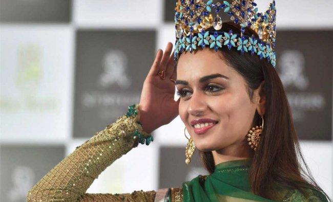 Miss World 2017 Manushi Chhillar at a press conference in Mumbai...
