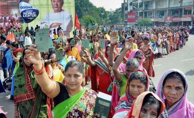 Green card holders taking out a protest rally for their various demands in Bhubaneswar...