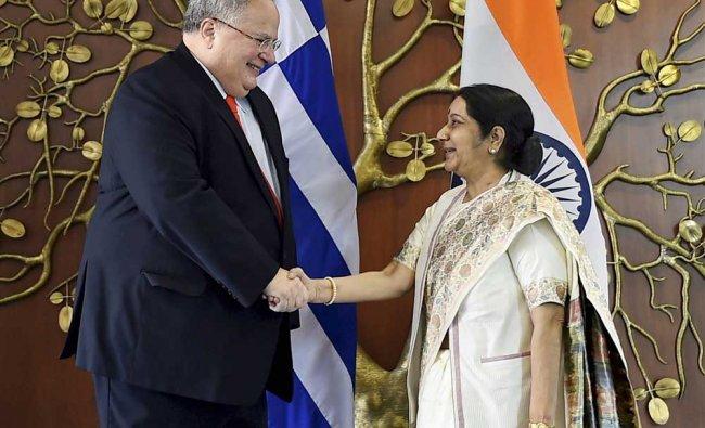Minister for External Affairs Sushma Swaraj and her Greek counterpart Nikos Kotzias exchange...